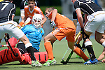 GER - Mannheim, Germany, May 16: During the whitsun tournament boys hockey match between Germany (black) and The Netherlands (orange) on May 16, 2016 at Mannheimer HC in Mannheim, Germany. Final score 4-3 (HT 2-0). (Photo by Dirk Markgraf / www.265-images.com) *** Local caption *** Anton Brinckmann (TW) #1 of Germany (U16), Alexander Schop #22 of The Netherlands