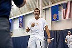 24 MAY 2016:  Virginia's Luca Corinteli celebrates closing out doubles play for his team. The Division I Men's Tennis Championship is held at the Michael D. Case Tennis Center on the University of Tulsa campus in Tulsa, OK.  Virginia defeated Oklahoma for the national championship. Shane Bevel/NCAA Photos