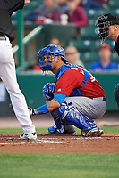 Toronto Blue Jays catcher Luke Maile (52), on rehab assignment with the Buffalo Bisons, awaits the pitch during a game against the Rochester Red Wings on August 25, 2017 at Frontier Field in Rochester, New York.  Buffalo defeated Rochester 2-1 in eleven innings.  (Mike Janes/Four Seam Images)