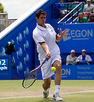 Guillermo Garcia-Lopez against Michael Llodra (FRA) (8) in the final of the men's singles. Michael Llodra beat Guillermo Garcia-Lopez 7-6 6-2..International Tennis - 2010 ATP World Tour - AEGON International - Devonshire Park Lawn Tennis Centre - Eastbourne - Day 6 - Sat 19 Jun 2010..© AMN Images - FREY - Level 1, Barry House, 20-22 Worple Road, London, SW19 4DH.Tel - +44 (0) 208 947 0100.Email - mfrey@advantagemedianet.com.wwww.advantagemedianet.com