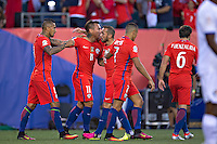 Action photo during the match Chile vs Panama, Corresponding to Group -D- America Cup Centenary 2016 at Lincoln Financial Field.<br /> <br /> Foto de accion durante el partido Chile vs Panama, Correspondiente al Grupo -D- de la Copa America Centenario 2016 en el  Lincoln Financial Field, en la foto: Eduardo Vargas ce Chile celebra su gol<br /> <br /> <br /> 14/06/2016/MEXSPORT/Javier Ramirez.