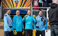 Stars of the Show (l-r) Brian Quinn, Joseph Gatto, James Murray & Sal Vulcano during The Impractical Jokers (Hit US TV Comedy) filming at Wycombe Wanderers FC at Adams Park, High Wycombe, England on 5 April 2016. Photo by Andy Rowland.