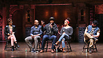 """Syndee Winters, Brandon Victor Dixon, J. Quinton Johnson, Sasha Hollinger and Roddy Kennedy during the Q & A for The Rockefeller Foundation and The Gilder Lehrman Institute of American History sponsored High School student #EduHam matinee performance of """"Hamilton"""" at the Richard Rodgers Theatre on 3/15/2017 in New York City."""