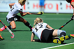 The Hague, Netherlands, June 01: Lydia Haase #12 of Germany watches Eileen Hoffmann #11 of Germany while lying on the pitch during the field hockey group match (Women - Group B) between Germany and China on June 1, 2014 during the World Cup 2014 at GreenFields Stadium in The Hague, Netherlands. Final score 1:1 (0:0) (Photo by Dirk Markgraf / www.265-images.com) *** Local caption ***