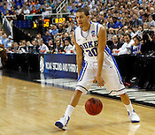 Seth Curry evaluates the floor. Lehigh defeated Duke 75-70 during the 2nd round of the 2012 NCAA Basketball Championship at the Greensboro Coliseum in Greensboro, NC. Photo by Al Drago.