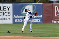 Kane County Cougars shortstop Blaze Alexander (5) prepares to make a diving catch during a Midwest League game against the Cedar Rapids Kernels at Northwestern Medicine Field on April 28, 2019 in Geneva, Illinois. Kane County defeated Cedar Rapids 3-2 in game one of a doubleheader. (Zachary Lucy/Four Seam Images)