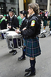 March 16, 2013 - New York, NY, U.S. - Studnets in Pipes and Drums band, getting ready to march in the 252nd annual NYC St. Patrick's Day Parade.