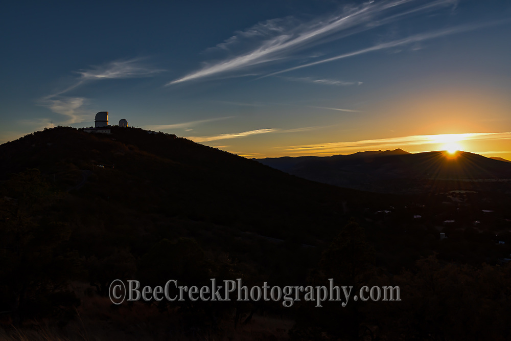 We captured this wonderful sunset image of the  McDonald Observatory near Fort Davis in Jeff Davis County, Texas, United States.This is a pano of the Davis Mountains sunset with two of the McDonald observatory sitting on top of Mount Locke just after sunsets over the Davis mountains. The dark skies in this area is why the McDonald Observatory is located here and on top of this mountain you have two telescope domes the Otto Struve and the Harlan J. Smith in view. This area of west Texas in the Davis mountains is known for having some of the darkest skies around it why it was located here and is run by UT. This observatory is used for astronomical research of the planets and stars and stellar along with other interest.