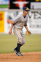 Shortstop Carmen Angelini (5) of the Charleston RiverDogs on defense versus the Hickory Crawdads at L.P. Frans Stadium in Hickory, NC, Sunday, May 4, 2008.