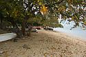 Pirogues on the beach at Tamarin, Mauritius.