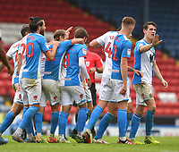 Blackburn Rovers' players celebrate their 3rd goal<br /> <br /> Photographer Dave Howarth/CameraSport<br /> <br /> The EFL Sky Bet Championship - Blackburn Rovers v Reading - Saturday 18th July 2020 - Ewood Park - Blackburn<br /> <br /> World Copyright © 2020 CameraSport. All rights reserved. 43 Linden Ave. Countesthorpe. Leicester. England. LE8 5PG - Tel: +44 (0) 116 277 4147 - admin@camerasport.com - www.camerasport.com