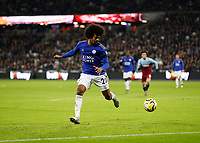 28th December 2019; London Stadium, London, England; English Premier League Football, West Ham United versus Leicester City; Hamza Choudhury of Leicester City - Strictly Editorial Use Only. No use with unauthorized audio, video, data, fixture lists, club/league logos or 'live' services. Online in-match use limited to 120 images, no video emulation. No use in betting, games or single club/league/player publications
