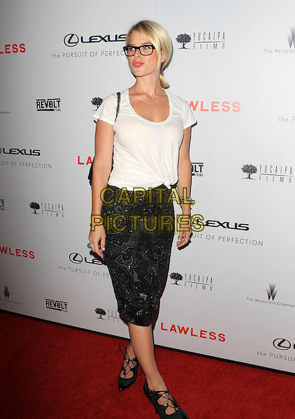 "Alice Eve.""Lawless"" premiere held at ArcLight Cinemas, Hollywood, California, USA..August 22nd, 2012.full length white top black skirt knotted t-shirt beads beaded strappy sandals glasses  .CAP/ADM/KB.©Kevan Brooks/AdMedia/Capital Pictures."