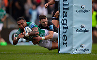 Newcastle Falcons' Sonatane Takulua scores his sides first try<br /> <br /> Photographer Bob Bradford/CameraSport<br /> <br /> Gallagher Premiership - Exeter Chiefs v Newcastle Falcons - Saturday 23rd February 2019 - Sandy Park - Exeter<br /> <br /> World Copyright © 2019 CameraSport. All rights reserved. 43 Linden Ave. Countesthorpe. Leicester. England. LE8 5PG - Tel: +44 (0) 116 277 4147 - admin@camerasport.com - www.camerasport.com