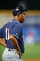 New Hampshire Fisher Cats manager Bobby Meacham (10) during a game against the Harrisburg Senators on July 21, 2015 at Metro Bank Park in Harrisburg, Pennsylvania.  New Hampshire defeated Harrisburg 7-1.  (Mike Janes/Four Seam Images)