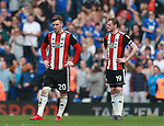 Lee Evans of Sheffield Utd and Richard Stearman of Sheffield Utd during the championship match at St Andrews Stadium, Birmingham. Picture date 21st April 2018. Picture credit should read: Simon Bellis/Sportimage
