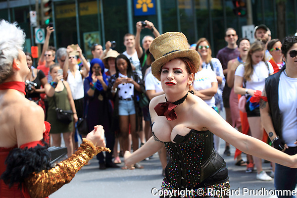 Montreal, Canada 20/08/2017.The cast of The Rocky horror Show take part in the 2017 Montreal LGTQ Parade. Richard Prudhomme