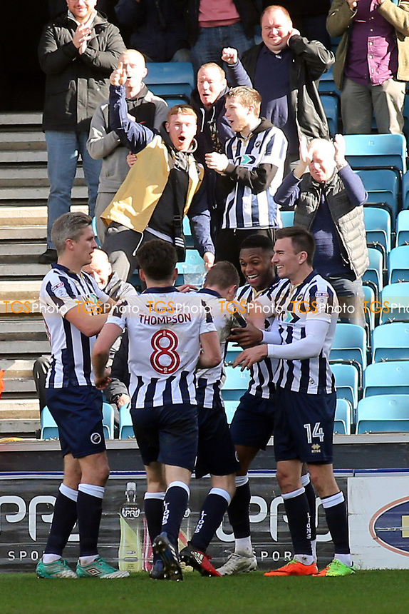 Millwall players congratulate Shane Ferguson after scoring their second goal during Millwall vs Scunthorpe United, Sky Bet EFL League 1 Football at The Den on 1st April 2017