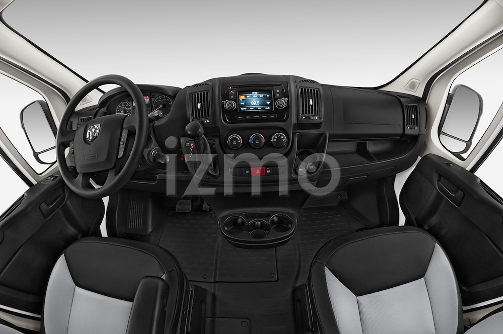 Stock photo of straight dashboard view of a 2017 Ram ProMaster 1500 118 WB Low Roof 2 Door Cargo Van