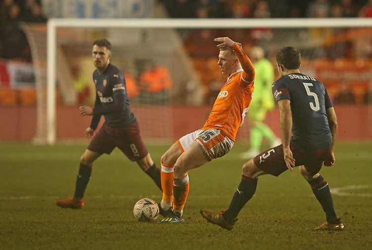 Blackpool's Callum Guy<br /> <br /> Photographer Stephen White/CameraSport<br /> <br /> Emirates FA Cup Third Round - Blackpool v Arsenal - Saturday 5th January 2019 - Bloomfield Road - Blackpool<br />  <br /> World Copyright &copy; 2019 CameraSport. All rights reserved. 43 Linden Ave. Countesthorpe. Leicester. England. LE8 5PG - Tel: +44 (0) 116 277 4147 - admin@camerasport.com - www.camerasport.com