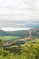 View from Nymfeo Nimfeo Mountain to the plains and lake Zazari. Amyndeon Amindeo region, Macedonia, Greece