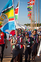 Scouts from Kenya heading for the arena event on time road. Photo: André Jörg/ Scouterna