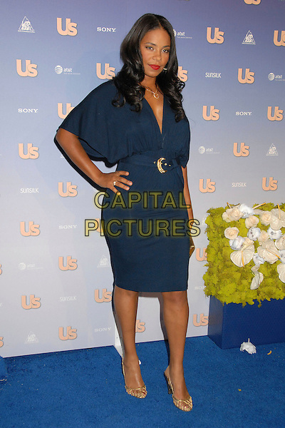 SANAA LATHAN.US Weekly's Hot Hollywood 2007 at Opera, Hollywood, California, USA..September 26th, 2007.full length dress blue belt gold clutch purse bag shoes hand on hip.CAP/ADM/BP.©Byron Purvis/AdMedia/Capital Pictures.
