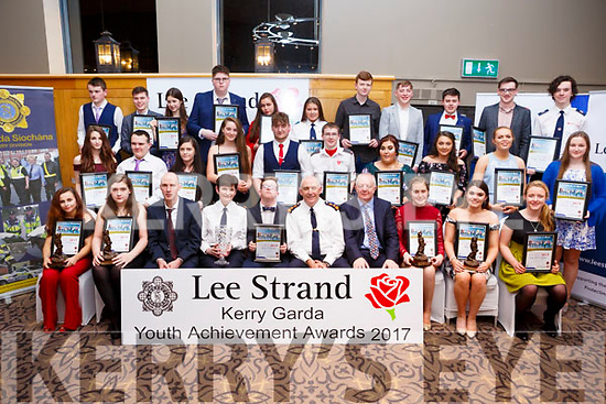 The group of winners at the Kerry Garda Lee Strand Youth Achievements Awards held in the Ballyroe Heights Hotel on Friday night last.
