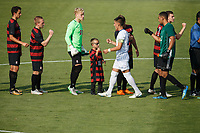 Stanford, CA - August 24, 2018: Opening ceremonies before the Stanford vs SJSU Men's Soccer game Friday night at Cagan Stadium.<br /> <br /> It was 0-0 tie.