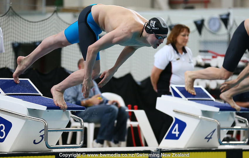 Max Polanski during Session Two of the 2015 New Zealand Short Course Championships, Sir Owen G. Glenn National Aquatic Centre, Auckland, New Zealand, 11 August 2015. Photo: Simon Watts/www.bwmedia.co.nz