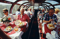"""South Orient Express. Dome dining car """"Maroon Bells""""."""