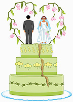 Angry bride and groom on top of split wedding cake