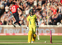 Australia's Glenn Maxwell is bowled by England's Chris Jordan<br /> <br /> Photographer Andrew Kearns/CameraSport<br /> <br /> Only IT20 - Vitality IT20 Series - England v Australia - Wednesday 27th June 2018 - Edgbaston - Birmingham<br /> <br /> World Copyright &copy; 2018 CameraSport. All rights reserved. 43 Linden Ave. Countesthorpe. Leicester. England. LE8 5PG - Tel: +44 (0) 116 277 4147 - admin@camerasport.com - www.camerasport.com