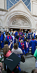 Students exit the Saint Vincent de Paul Parish Church on DePaul University's Lincoln Park Campus following the annual Baccalaureate Mass Friday, June 9, 2017. The event was part of the 119th commencement ceremonies for the Chicago university. (DePaul University/Jamie Moncrief)