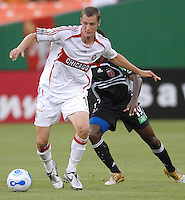 Chicago Fire foward Nate Jaqua (11) controls the ball. DC United defeated the Chicago Fire 1-0, Wednesday, June 21, 2006.