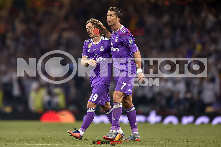 Cristiano Ronaldo of Real Madrid and Luka Modric of Real Madrid celebrate after scoring during the UEFA Champions League Final match between Real Madrid and Juventus at the National Stadium of Wales, Cardiff, Wales on 3 June 2017. Photo by Giuseppe Maffia.<br /> <br /> Giuseppe Maffia/UK Sports Pics Ltd/Alterphotos /nortephoto.com