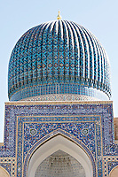 Uzbekistan, Samarqand. Guri Amir Mausoleum, containing the graves of Tamerlane (Amir Timur) and Ulugbek.