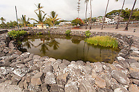 Waikua'a'ala loko wai pond, historic kapu bathing place of Hawaiian chiefs, Kahalu'u Beach, Kailua-Kona, Big Island.