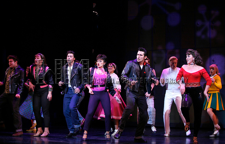 Lindsay Memdez, Ace Young, Derek Keeling & Anna Aimee White during American Idol Heartthrob Ace Young makes his Broadway Debut in the Broadway Revival of GREASE at the Brooks Atkinson Theatre in New York City.<br />September 11, 2008