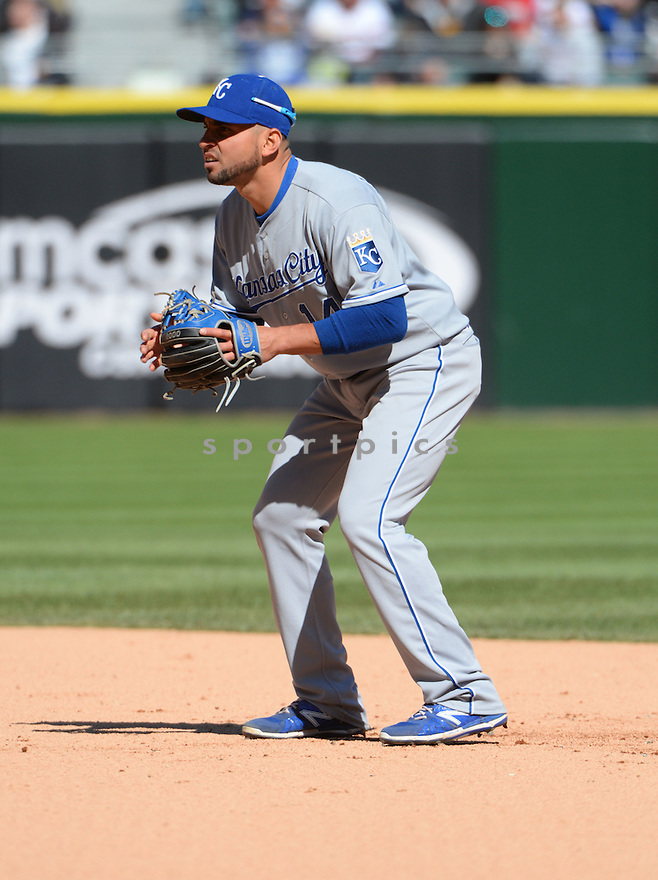 Kansas City Royals Omar Infante (14) during a game against the Chicago White Sox on April 26, 2015 at US Cellular Field in Chicago, IL. The White Sox beat the Royals 5-3.