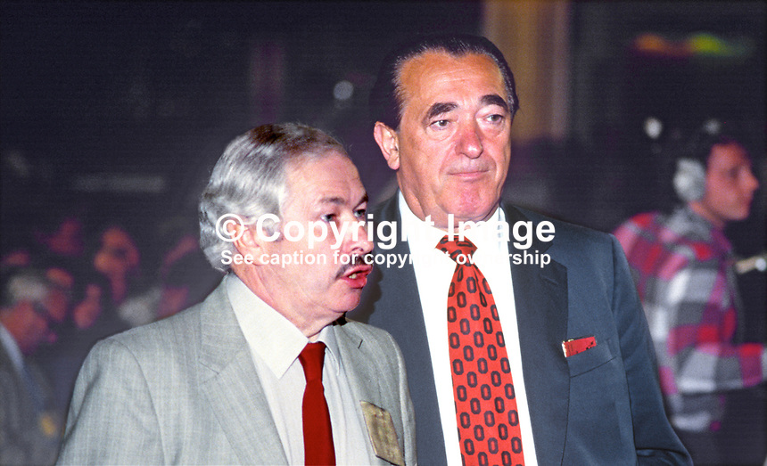 Media tycoon and former Labour Party MP, Robert Maxwell, right, with with Doug Hoyle, Labour Party MP, at party's annual conference, 1984, 19840128RM2.<br />