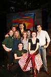 "Guiding Light's Allison Hirschlag ""Lizzie Spaulding"" (3rd left) along with Celine Rosenthal (Director/Producer), Melissa Pinsly, Allison, Mark Stetson, Emily Lynn (Make-Up); Back Row: Lucky Gretzinger, Mark Rosenthal,  Matthew Cohn and front: Erin Gilmore (Director) star in Wake Up Marconi Theatre Company's ""The Weird"" on February 18, 2010 at Manhattan Theatre Source, New York City, New York. (Photo by Sue Coflin/Max Photos)"