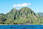 Part of the Na Pali coast of Kauai, as seen from a Zodiac boat. The rugged Na Pali coast (west coast) of Kauai is inaccessible except by a famously difficult hiking trail or by boat, airplane or helicopter. Here photographed from a Zodiac boat.