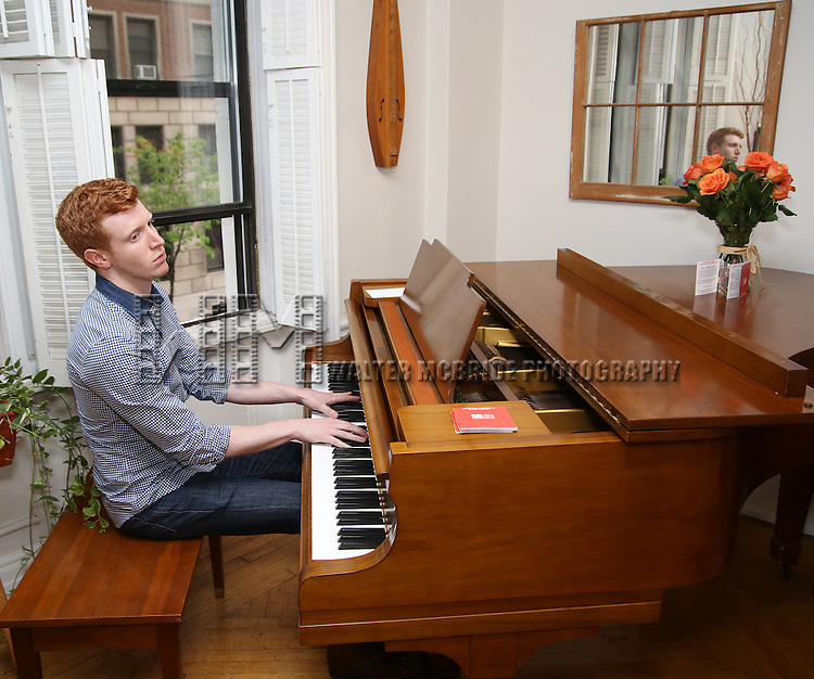 Ben Wexler, at the piano, during the DGF Salon with Lisa Kron at the home of Gretchen Cryer on May 2, 2016 in New York City.