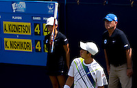 Kei Nishikori (JPN) against Andrey Kuznetsova (RUS) in the first round of the men's singles. Andrey Kuznetsova beat Kei Nishikori after Nishikori retired..International Tennis - 2010 ATP World Tour - AEGON International - Devonshire Park Lawn Tennis Centre - Eastbourne - Day 1 - Mon 14 Jun 2010..© FREY - AMN Images, 1st Floor, 20-22 Worple Road, London, SW19 4DH.phone - +44 (0) 20 8947 0100.Email - mfrey@advantagemedianet.com.www.advantagemedianet.com.