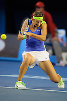 MELBOURNE, 28 JANUARY - Victoria Azarenka (BLR) in action against Maria Sharapova (RUS) during the women's finals match on day thirteen of the 2012 Australian Open at Melbourne Park, Australia. (Photo Sydney Low / syd-low.com)