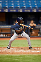 Tony Pena (20) squares around to bunt during the Tampa Bay Rays Instructional League Intrasquad World Series game on October 3, 2018 at the Tropicana Field in St. Petersburg, Florida.  (Mike Janes/Four Seam Images)