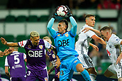 2nd February 2019, HBF Park, Perth, Australia; A League football, Perth Glory versus Wellington Phoenix; Liam Reddy of the Perth Glory takes the ball in the box during the second half