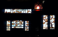 Greene & Greene: Thorsen House, Berkeley 1908. Interior, stained glass window.  Photo '78.