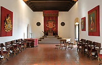 Sala de Audiencias of the Museo de las Casas Reales, or Museum of the Royal Houses, in the Colonial Zone of Santo Domingo, capital of the Dominican Republic, in the Caribbean. The museum was opened in 1973 to celebrate the history and culture of the Spanish inhabitants of the colony, and is housed in a 16th century colonial palace originally serving as governor's office and Audiencia Real or Royal Court. Santo Domingo's Colonial Zone is listed as a UNESCO World Heritage Site. Picture by Manuel Cohen